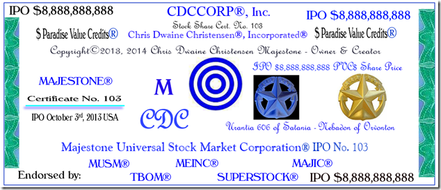 CDCCORP Stock Share Certificate IPO 10-3-2013 for $8,888,888,888 PHOTOCERT Cropped