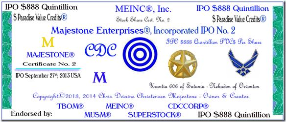 MEINC IPO 9-27-13 $888 Quintillion Cert. No. 2 PHOTOCERT Cropped