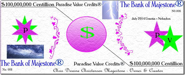 Paradise Value Credits Image with Galaxy & Lightning Signed Numbered & Dated 7-6-14 No. 008