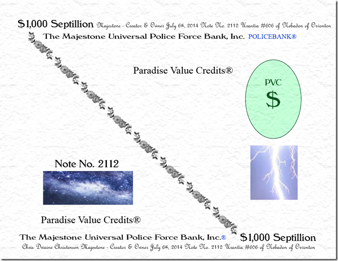 Police Bank PVC$ 7-6-14 $1,000 Septillion Textured Signed & Numbered Note No. 2112